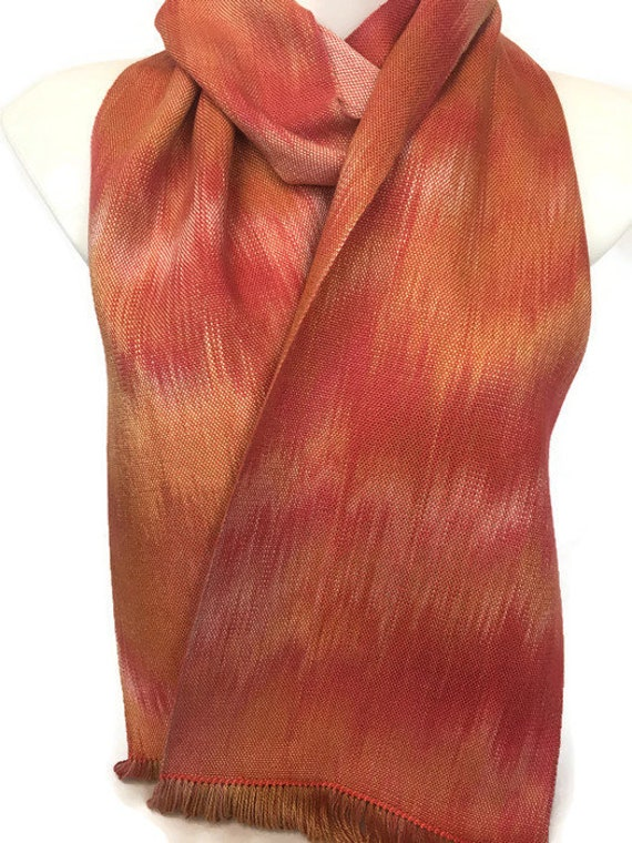 Handwoven, hand-dyed, fringed, rayon scarf, table runner, in many shades of orange -HSS49