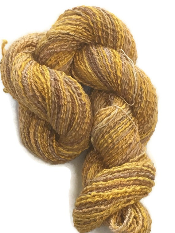 Hand-dyed, cotton and rayon, sport weight boucle yarn, 200 yards, in shades of golden brown and mustard -41