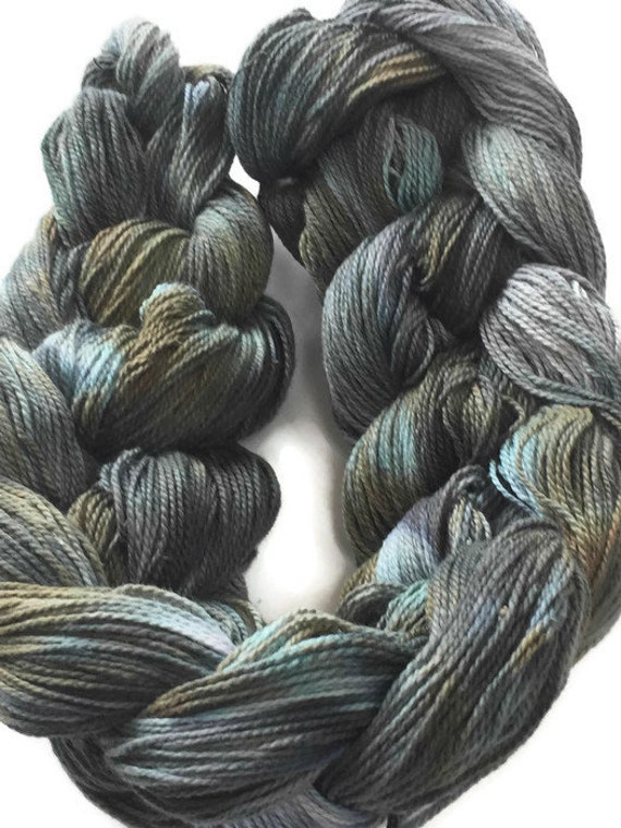 Hand-dyed, pre-wound weaving warp, 4/2 cotton, 200 ends, 3 7/8 yards long, in shades of grays, taupe, and blue -DW73