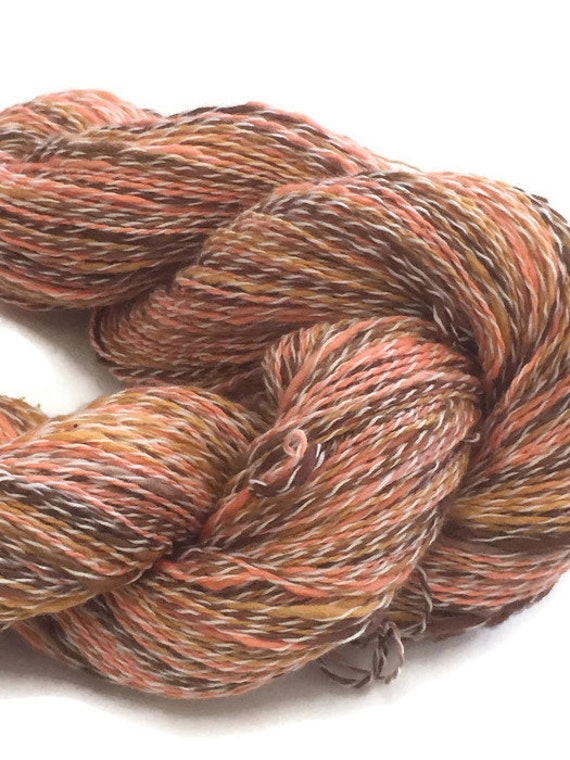 Hand-dyed, cotton and synthetic, thick and thin, fingering yarn, 20 yard mini-skeins and 400 yards, in shades of browns and orange -DY71