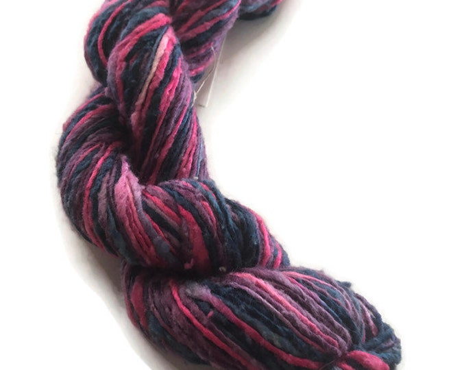 Hand-dyed cotton and rayon yarn, 100 yard skeins, thick and thin yarn, in hot pink, lavender, purple, dark blue, and blue