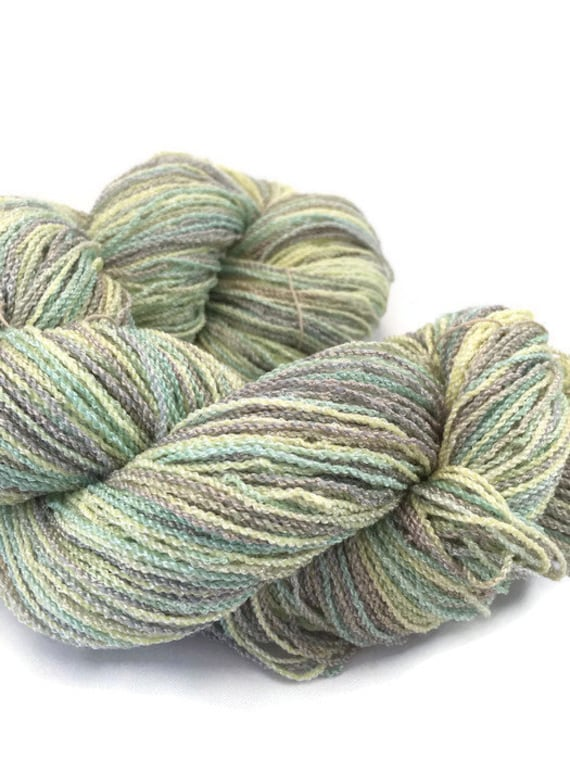 Hand-dyed, 8/2 cotton and rayon blend, fingering weight, 400 yards, in yellow, light green, and grey -074