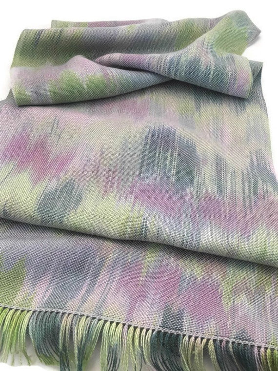 Hand-dyed, handwoven, fringed, Tencel scarf/wrap in shades of lavender, green, and blue -HSS4