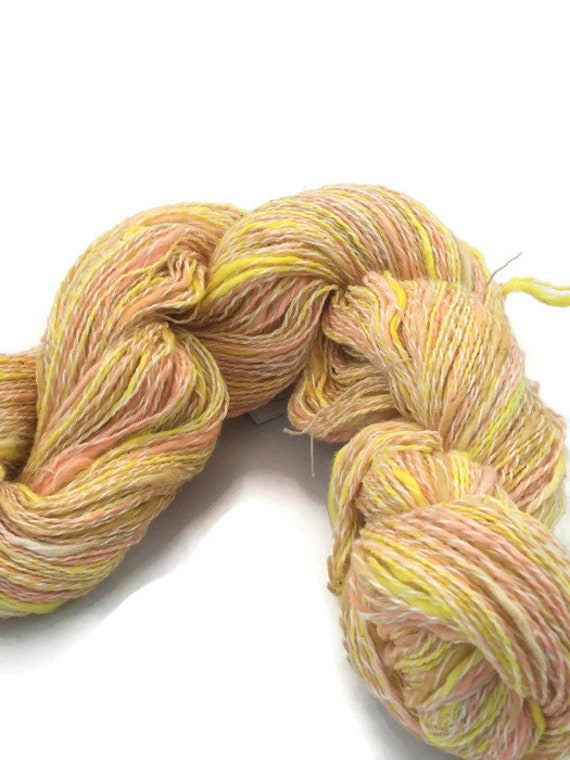 Hand-dyed, cotton and synthetic fingering yarn, 20 yard mini-skein and 400 yard skein, in bright yellow, peach, beige and white -061