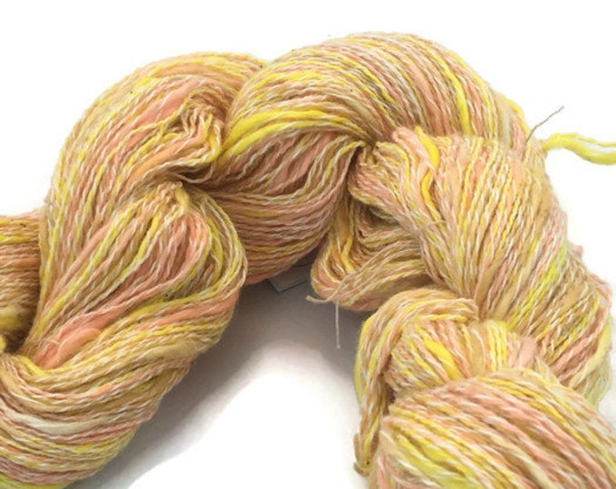 Hand-dyed, cotton and synthetic yarn, 400 yard skein, in bright yellow, peach, beige and white -061