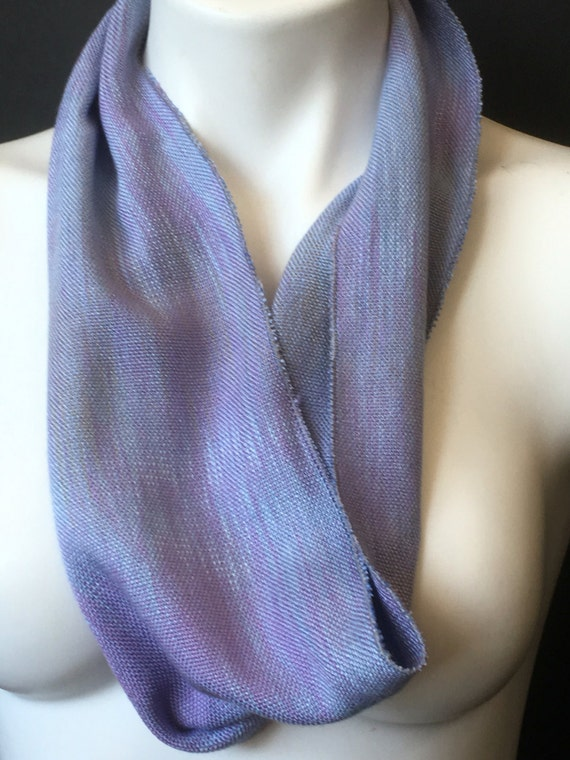 Hand-dyed, handwoven, rayon, infinity scarf in shades of blue and lavender -SIS26