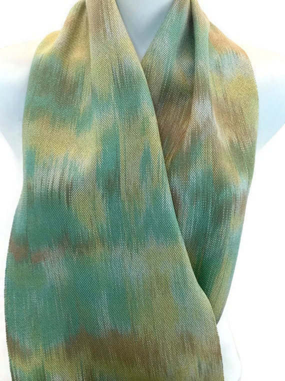 Hand-dyed, handwoven, Tencel, fringed scarf in shades of green, brown, and yellow -HSS16