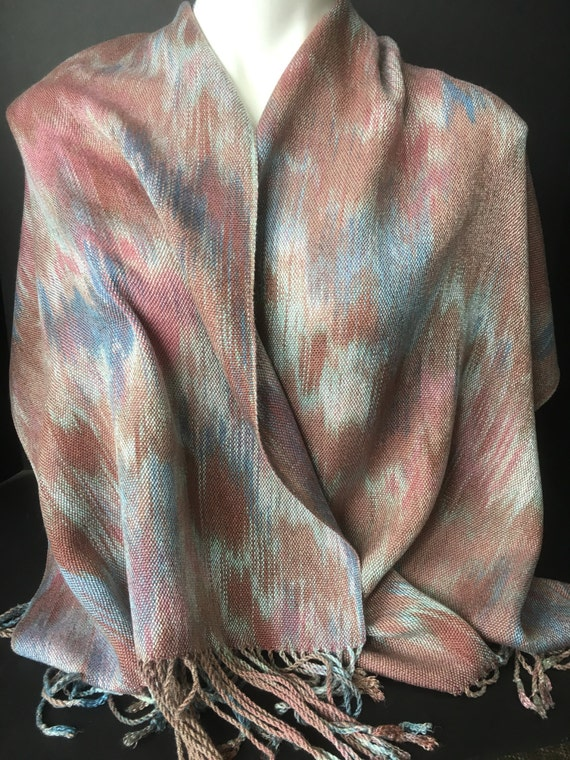 Hand-dyed, handwoven, fringed scarf, wrap, Tencel, in shades of browns, rose, and blue -TFS12