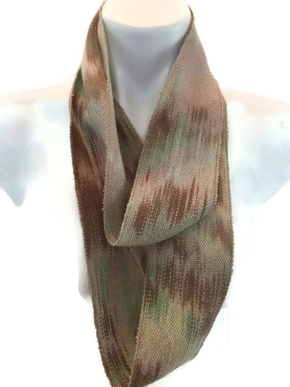 Hand-dyed, handwoven, skinny, Tencel, lightweight, infinity scarf in shades of green, beige, and brown -LIS66