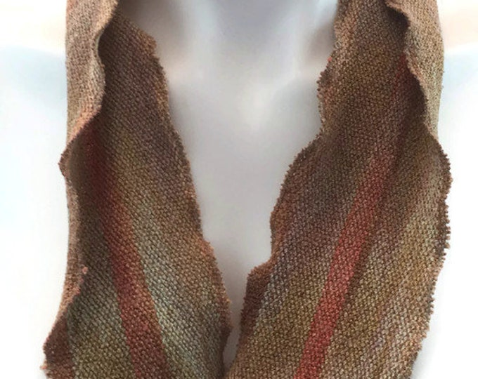 Hand-dyed, handwoven, cotton and rayon, skinny infinity scarf in shades of beige, gold, tan, and orange -SIS58