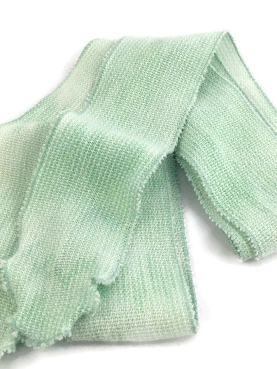 Hand-dyed, handwoven light green skinny rayon scarf -SES17