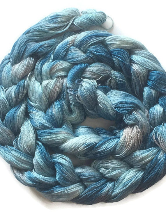 Hand-dyed, pre-wound weaving warp, 8/2 rayon, 200 ends, 5 7/8 yards long, in shades of blues and gray -DW36