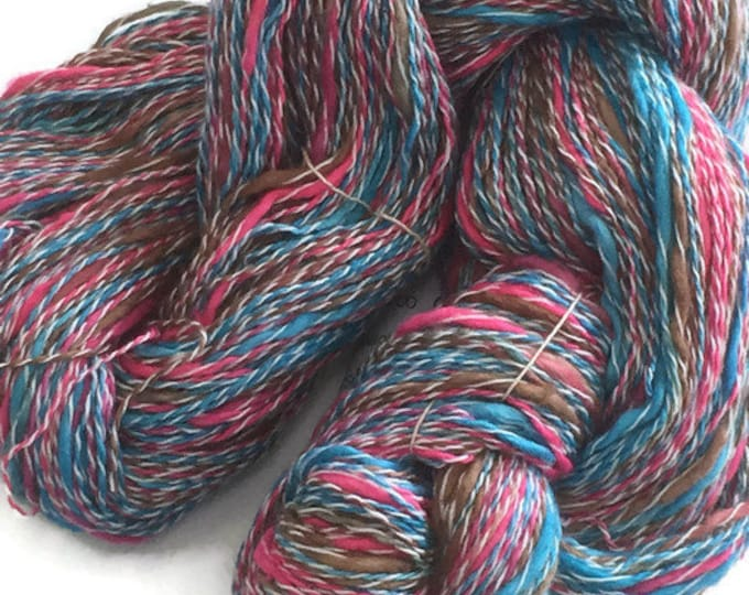Hand-dyed, cotton and synthetic yarn, thick and thin, 400 yards, in blue, bright pink, and brown -60