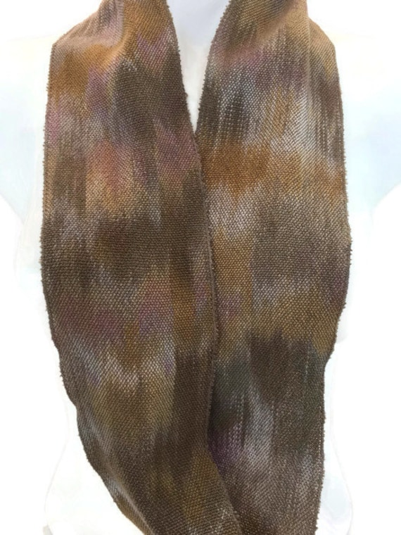 Hand-dyed, handwoven, Tencel, infinity scarf in shades of taupe, golden brown, brown, lavender, and silver grey -MIS10