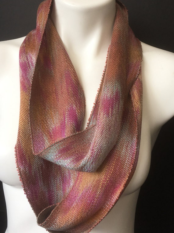 Hand-dyed, handwoven, skinny infinity scarf, Tencel, in shades of brown, golden brown, fuchsia, magenta, and sea foam green  -LIS32