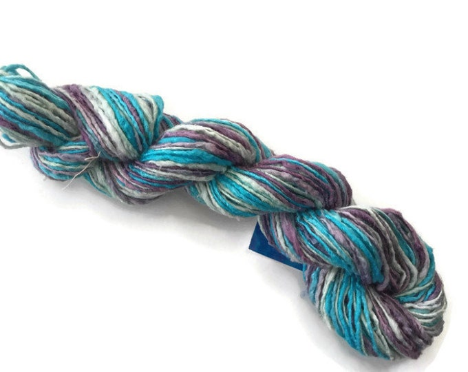 Hand-dyed, rayon and cotton yarn, 100 yards skeins, in turquoise and purple -0056