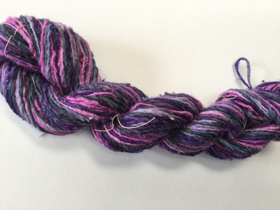 Hand-dyed rayon and cotton worsted yarn in pink, purple, and navy blue -0058
