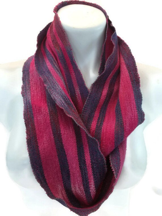 Hand-dyed, handwoven, cotton and rayon, striped infinity scarf in red and blue -LIS40