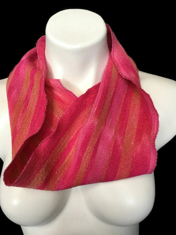 Hand-dyed, handwoven, cotton and rayon, infinity scarf in red, pink, and peach -SIS24