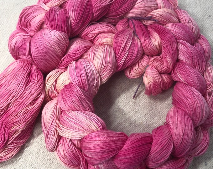 Hand-dyed, pre-wound weaving warp chain, 16/3 cotton, 200 and 400 ends, 4 3/4 yards, in multiple shades of pinks