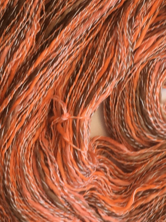 Sport weight hand dyed cotton and synthetic yarn in orange and brown -0065
