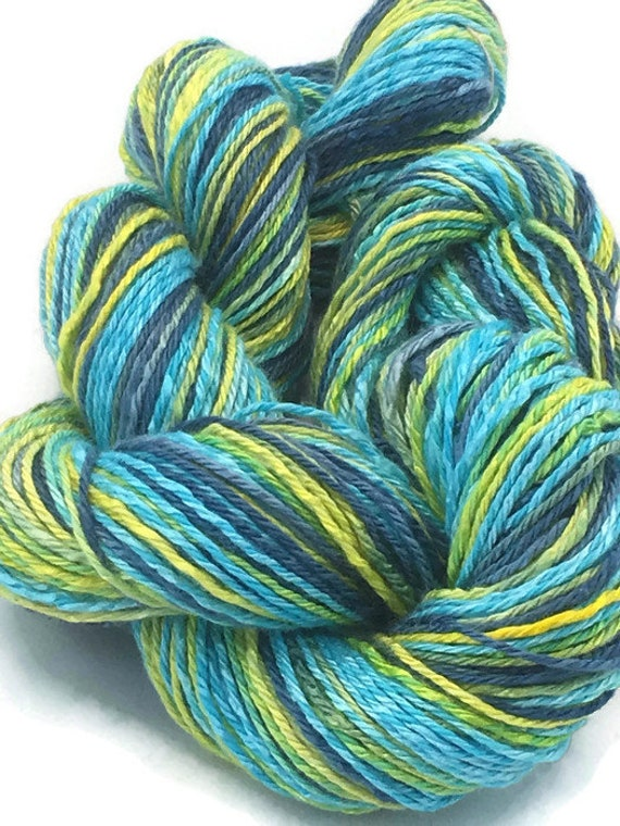 Hand-dyed, cotton and rayon, 3-ply, sport weight, 200 yards and 20 yards mini-skein, in marine blue, turquoise, lemon-lime, and yellow -021