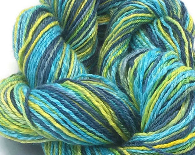 Hand-dyed, cotton and rayon, 3-ply, 200 yards, in marine blue, turquoise, lemon-lime, and yellow -021