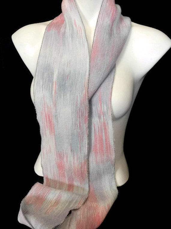 Hand-dyed, handwoven, Tencel, skinny infinity scarf in shades of blue and pink -LIS15
