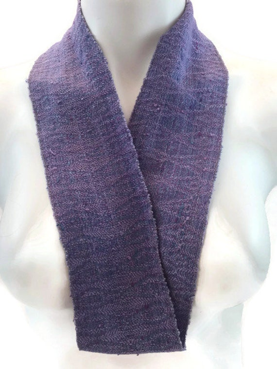 Hand-dyed, handwoven, patterned weave, rayon, skinny infinity scarf in blue and lavender -SIS43