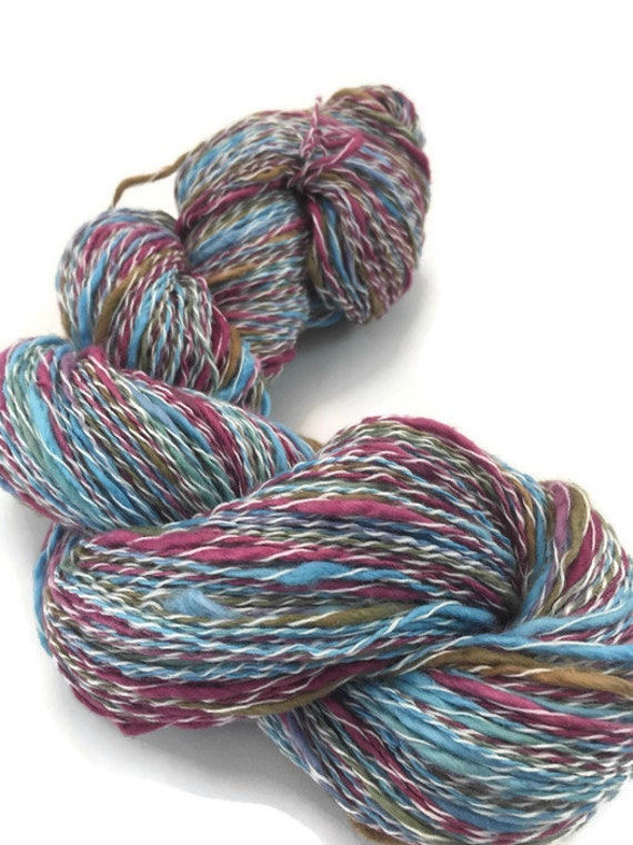 Hand-dyed, cotton and synthetic, thick and thin yarn, sport weight, 20 yard mini-skein and 400 yards, in blue, raspberry, and brown -068