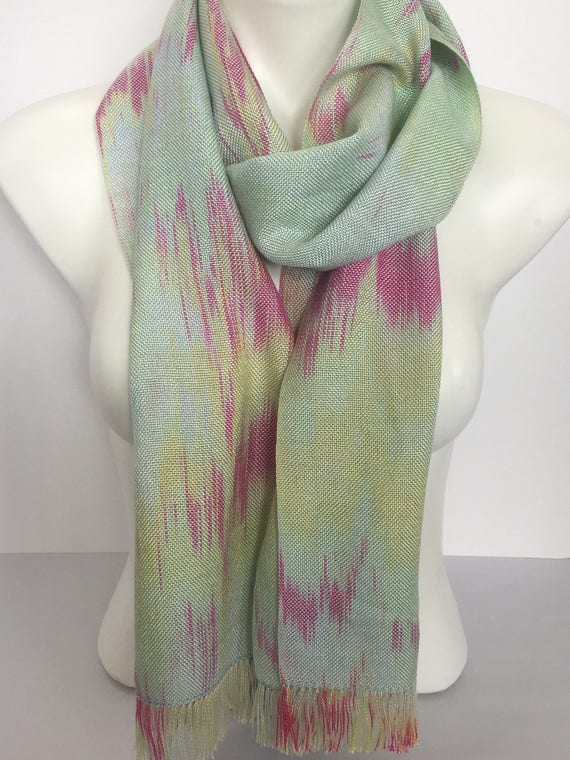 Hand-dyed, handwoven, Tencel, fringed scarf, in shades of light green, yellow, and pink -HSS6