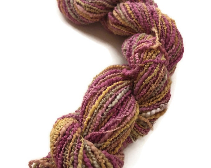 Hand-dyed, cotton and rayon, boucle, 100 yards skein, in shades of pinks, yellow, and grey - DY8