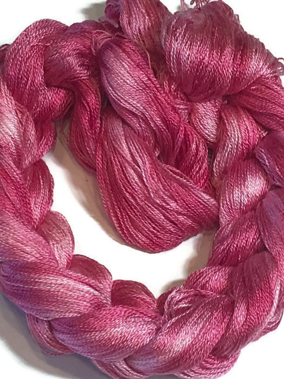 Hand-dyed, pre-wound weaving warp, 8/2 Tencel, 300 ends, 3 yards, in several shades of pink
