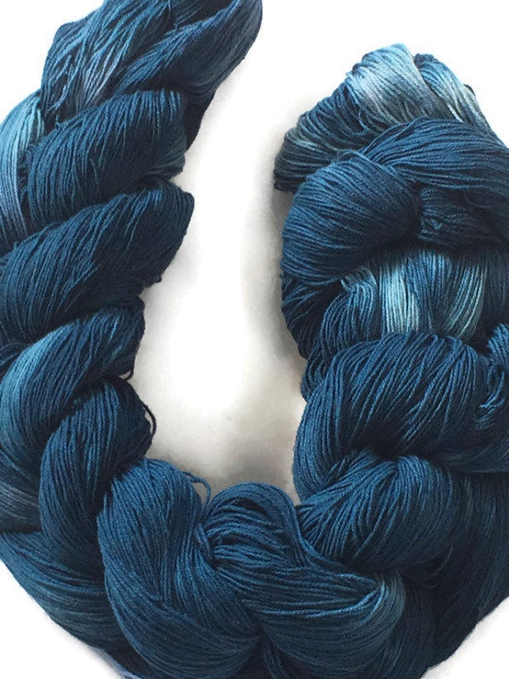 Hand-dyed, pre-wound weaving warp, 10/3 cotton, 400 ends, 3 7/8 yards long, in shades of blue -DW74