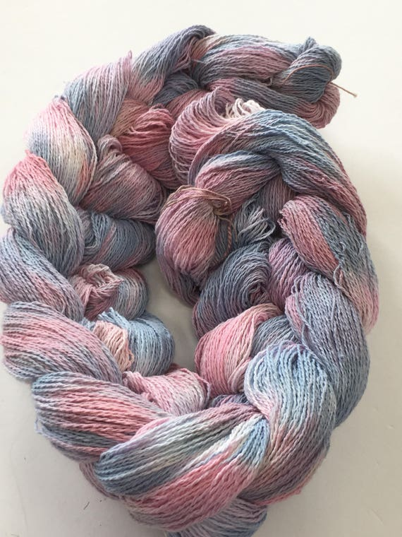 Hand-dyed, pre-wound weaving warp, 8/2 cotton, 300 ends, 3 7/8 yards long, in shades of blues, pinks, and lavender -DW47