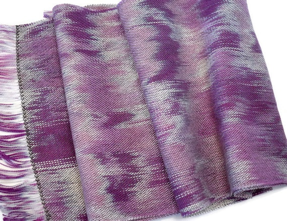 Hand-dyed, handwoven Tencel fringed scarf in shades of purple, grey, and blue -HSS14