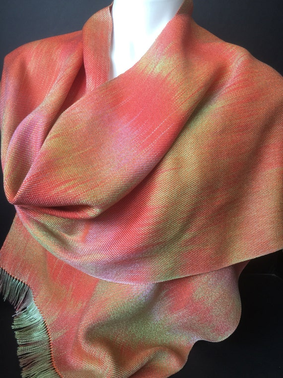 Hand-dyed, handwoven Tencel scarf or wrap in iridescent colors of orange, pink, and green -HSS24
