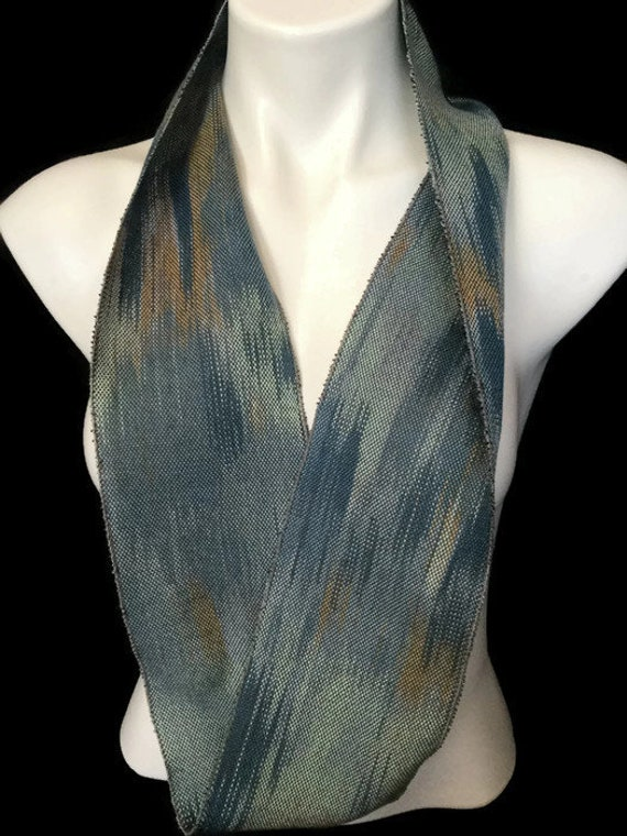 Hand-dyed, handwoven, Tencel, skinny infinity scarf in shades of blues, brown, and green -MIS18
