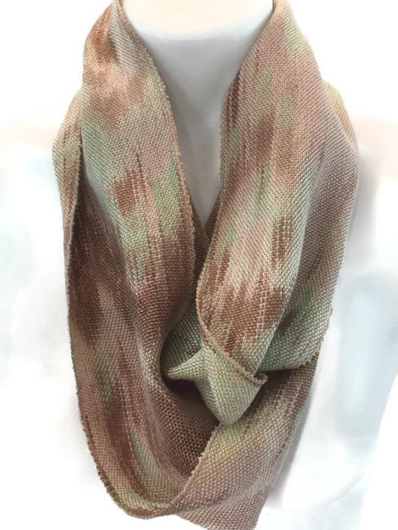 Hand-dyed, handwoven, Tencel, skinny infinity scarf in shades of light green, beige, and brown -LIS4