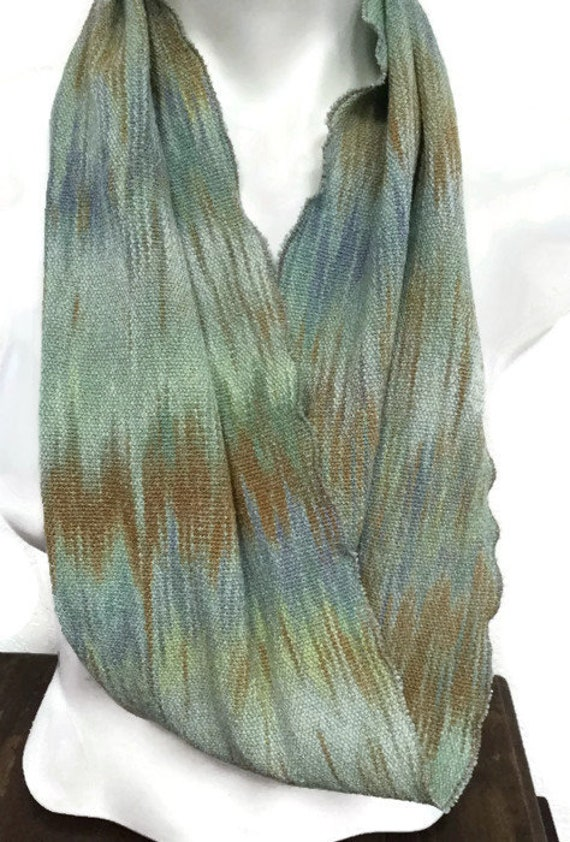 Hand-dyed, handwoven, cotton and rayon, infinity scarf in green, blue, and brown-MIS9