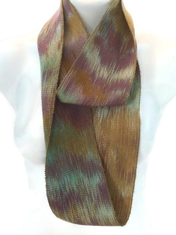 Hand-dyed, handwoven, Tencel, skinny infinity scarf in shades of mustard, purple, and sea foam green -LIS47