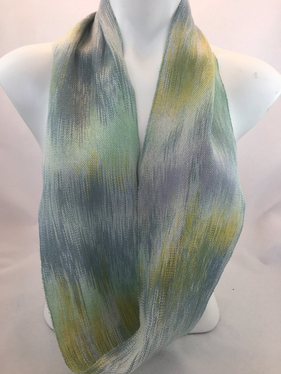Hand-dyed, handwoven, Tencel, lightweight, infinity scarf in shades of blues, green, and yellow -MIS19