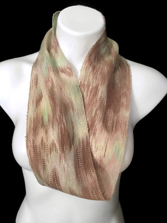 Hand-dyed, handwoven, Tencel, infinity scarf in shades of brown, beige, and green -SIS15