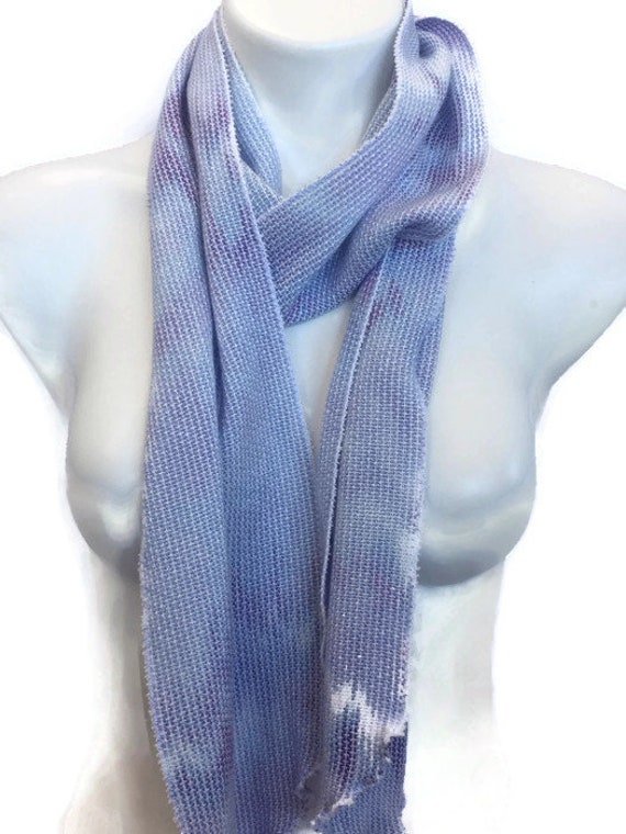 Hand-dyed, handwoven, rayon skinny scarf, in white and shades of purple -SES28