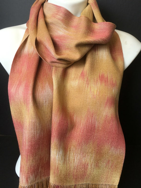 Hand-dyed, handwoven, rayon, fringed scarf in shades of brick red, golden brown, and beige -HSS23