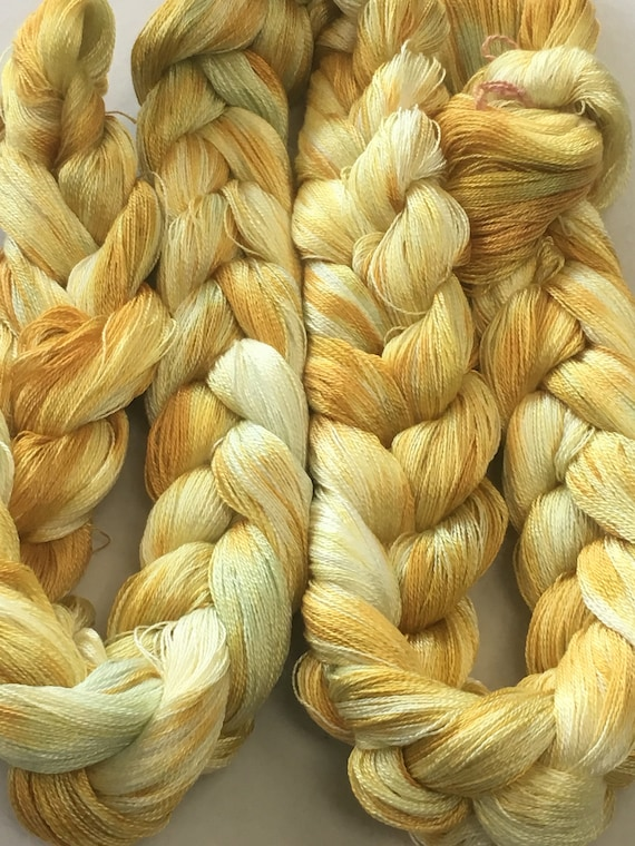 Hand-dyed, pre-wound, 8/2 Tencel weaving warp, 400 ends, 8 yards, in several shades of yellow and gold -107