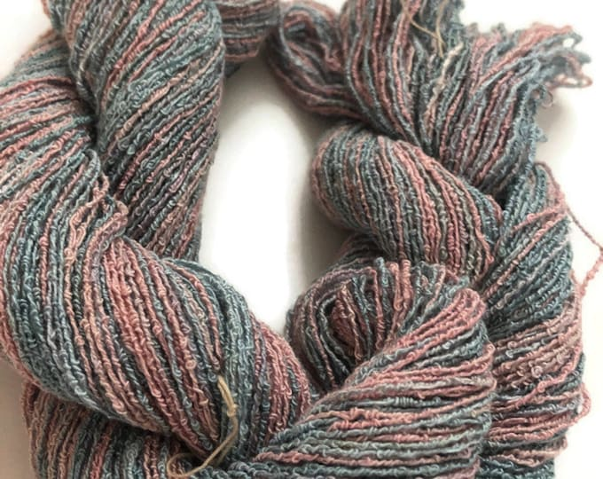 Hand-dyed, cotton and rayon, boucle yarn, 300 yard skeins, in light to medium shades pinks and blues