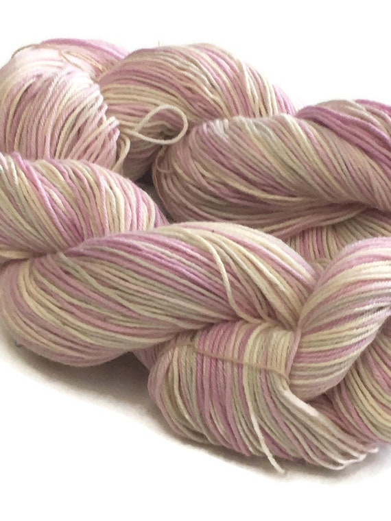 Hand-dyed, 4-ply, cotton fingering yarn, 20 yard mini-skeins, in shades of pink and natural -30