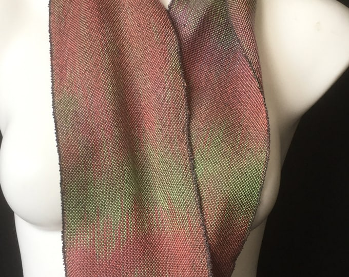 Hand-dyed, handwoven, Tencel, infinity scarf in shades of greyed green, burnt orange, and lavender -MIS44