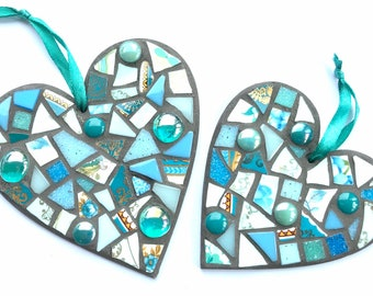 Mosaic Kit 2 Hearts craft kit for adults and children in 6 colours